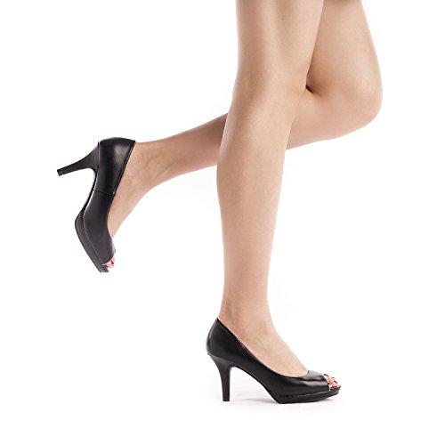 DREAM PAIRS Women's City_OT Black PU Fashion Stilettos Peep Toe Pumps Heels Shoes Size 9.5 B(M) US by DREAM PAIRS (Image #4)
