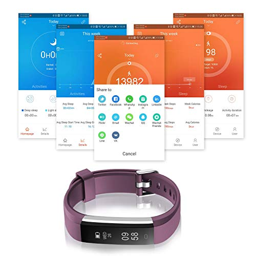 Smart Fitness Band, Muzili Activity Tracker, Fitness Tracker Activity Band Pedometer, Smart Bracelet with Sleep Monitor, Step Calorie Counter for Android or iOS Smartphones