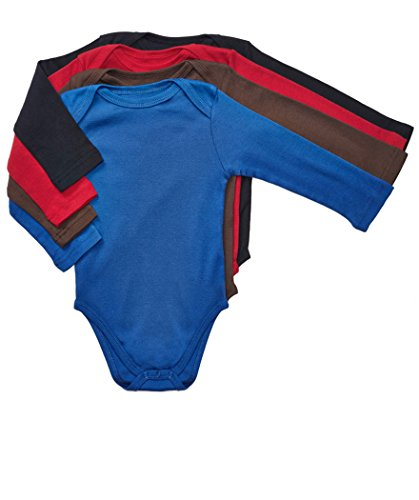 Leveret 4 Pack Long Sleeve Baby Boys Bodysuit 100% Cotton, Multi Solid 1, 6-12 Months -