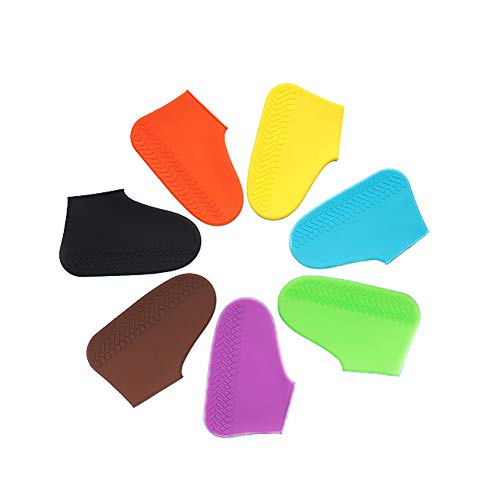 LESOVI Shoe Covers Silicone Waterproof - Men/Women Covers for Shoes - Waterproof Shoe Covers - Home/Carpet/reusable/Outdoor/Walking/Boot -Reusable Non Slip Grip -Durable (White, M)