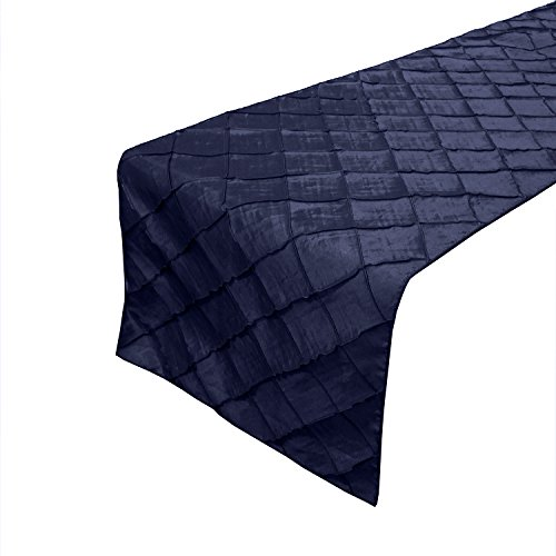 lovemyfabric Taffeta Pintuck Table Runners For Wedding/Bridal Shower Birthdays/Baby Shower and Special Events (Navy Blue, 12X120 Inch)]()