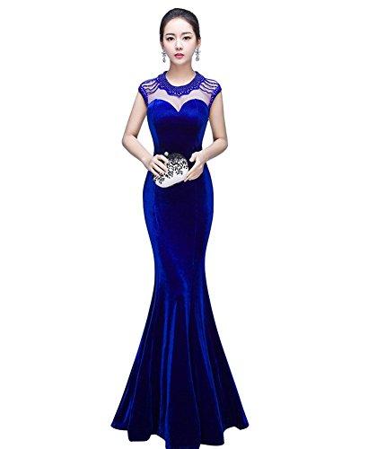 Azul Ajustado Drasawee Mujer Vestido Para 0wIAw7fqY
