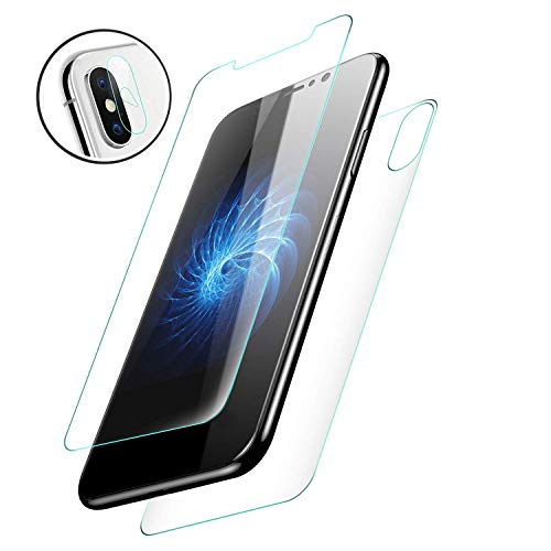 Starred [3in1] Camera, Back & Screen Protector Tempered Glass for Apple iPhone Xs Max Front, Backside, Camera Lens ()