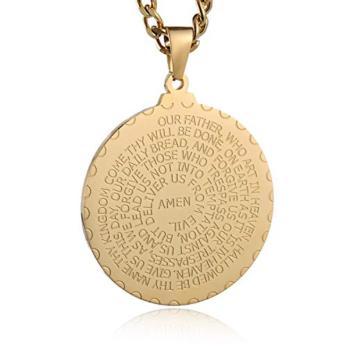 HZMAN Stainless Steel Lord's Prayer and Cross Medallion Pendant Necklace 24
