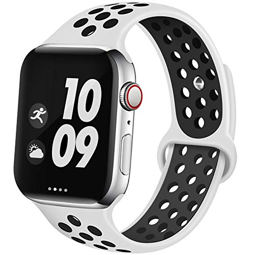 EXCHAR Sport Band Compatible with Apple Watch Band 44mm 42mm Breathable Soft Silicone Replacement Wristband Women and Man for iWatch Series 4 3 2 1 Nike+ All Various Styles M/L ()
