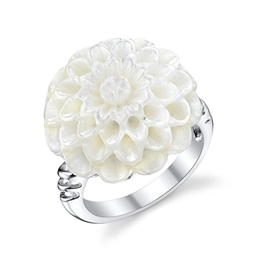 White Cultured Mother of Pearl Flower Shaped Ring - White Flower Pearl Ring