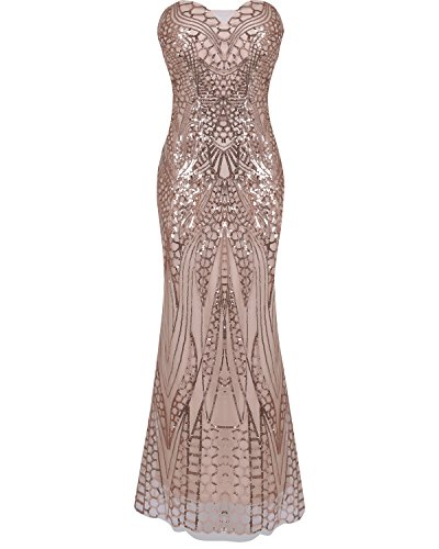 Angel's Home Women's Notched Strapless Paillette Column Sheath Prom Dress Rose Gold ()