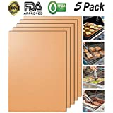 CIOGO Gold BBQ Grill Mat of 5-100% Non-Stick BBQ Grill & Baking Mats Repeated use and Easy to Clean for Works on Gas, Charcoal, Electric Grill and More (Yellow)