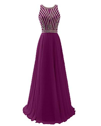 Brautmutterkleider Partykleider Festlichkleider Lang mit und Pailletten Fuchsia Abendkleider Dunkel Perlen Damen Charmant qwXIx1HtX