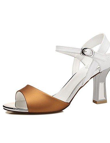 LFNLYX Zapatos de mujer-Tacón Robusto-Punta Abierta-Sandalias-Boda / Oficina y Trabajo / Vestido / Casual / Fiesta y Noche-Sintético-Amarillo / Yellow