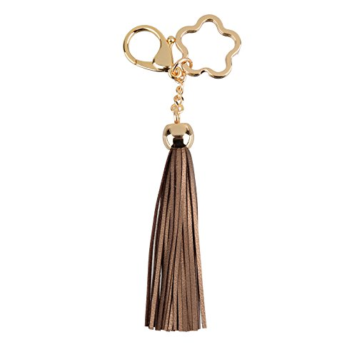 Charm Key Fob (Leather Tassel Keychain Bag Charm Fob With Star Keyring (Bronze))