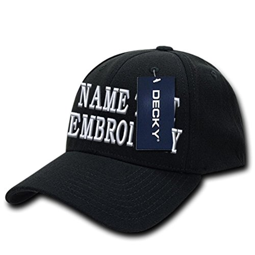 Custom Embroidery Hat Customized Embroidered Personalized Fitted Cap S/M - Black