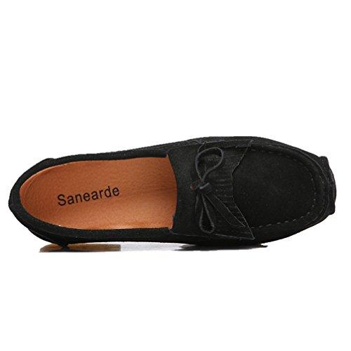 Mocassini Donna Sanearde Mocassini Casual In Pelle Scamosciata Mocassini Comfort Driving Scarpe Piatte Slip-on Pantofole Nere