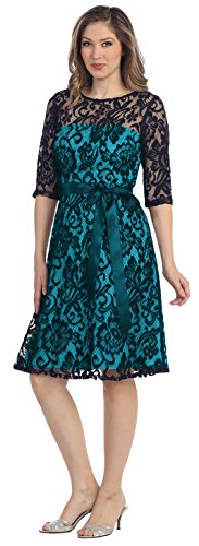 All lace formal gown Belle Maids 8791S-TEAL-XL