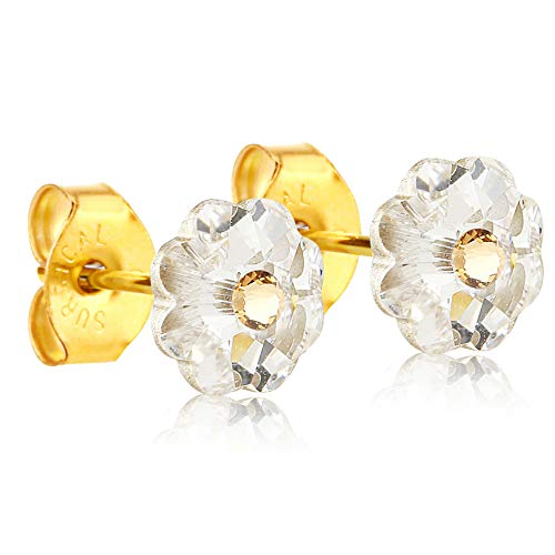 24K Gold Coated Stud Earrings hypoallergenic by clecceli (Crystal Clear/Gold)
