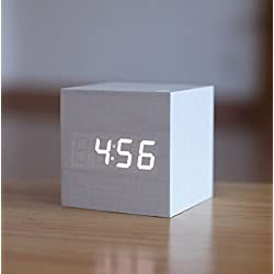 LED Digital Alarm Clock Sound Activated USB/AAA Batteries Powered Wooden Cube Clock with Calendar Thermometer Perfect for Desktop Home Office Travel (White Clock/White Light)