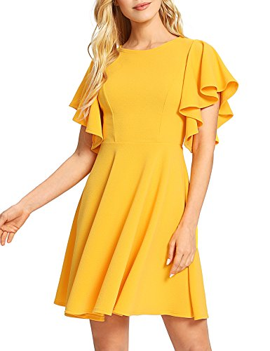 ROMWE Women's Stretchy A Line Swing Flared Skater Cocktail Party Dress Yellow M