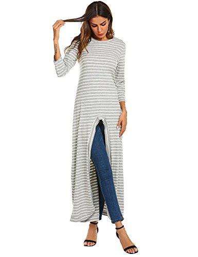 Open Neck Striped Shirt (Women Crew Neck Open Front Striped Split Long Dress T Shirts Tops ((US 16-18) XL, Light Gray))