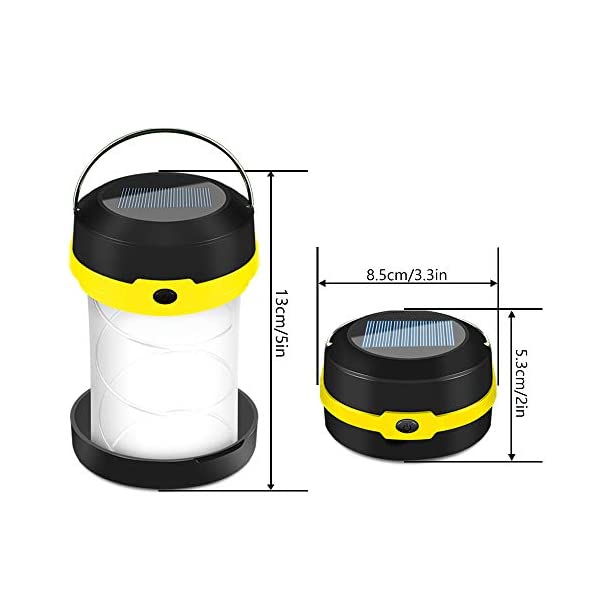 Molbory Camping Laterne Taschenlampe Zusammenklappbar, 2 Lademethoden Solar und USB mit 3 Lichtmod Faltbare Camping…