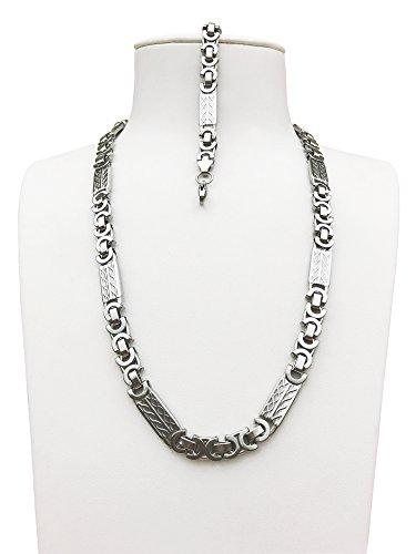 s Steel Satin Finish Byzantine Chain Necklace Set Gn652-S (Set Satin Steel)