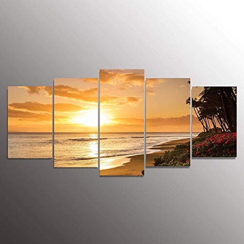 5 Piece Canvas Print,Contemporary Art,Modern Wall Decor,Warm Tropical Sunset on Sands of Kaanapali Beach in Maui Hawaii Destination for Travel,Giclee Artwork,Print on Canvas Sea view The Picture