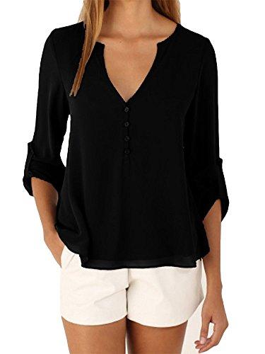 Camicetta Chiffon Donna Manica Lunga con Scollo V T Shirt Estiva Buse e Camicie Eleganti Camicia Bluse Maglie Tops Casual