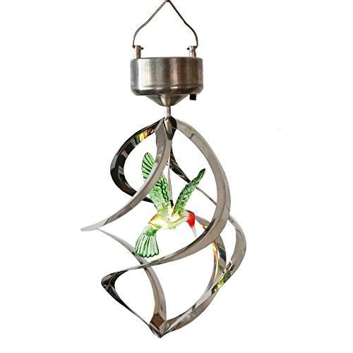 Hummingbird Solar Wind Spinner Light, LED Multi color Changing Solar Mobiles ()