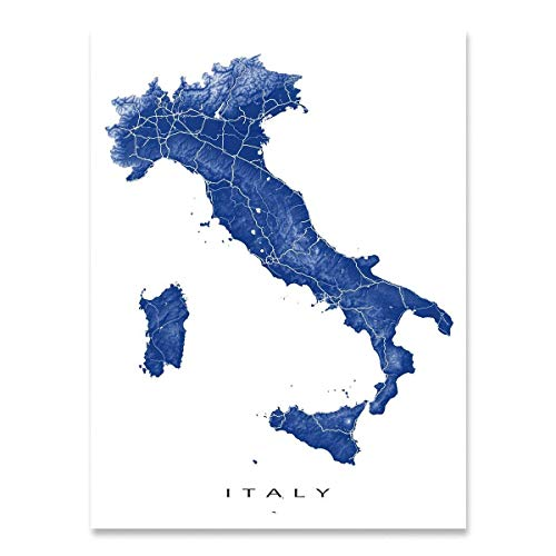 Italy Map Print, Europe Country Landscape Art Decor, Rome, Venice, Milan