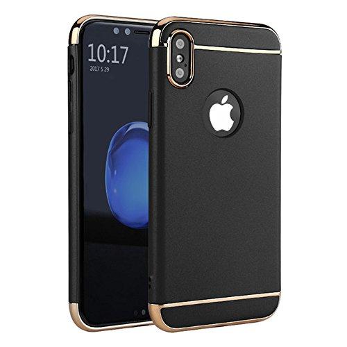 iPhone X case, cover mofi luxury glitter back bumper bling caso funda for iPhone X coque (Black, iphone x)