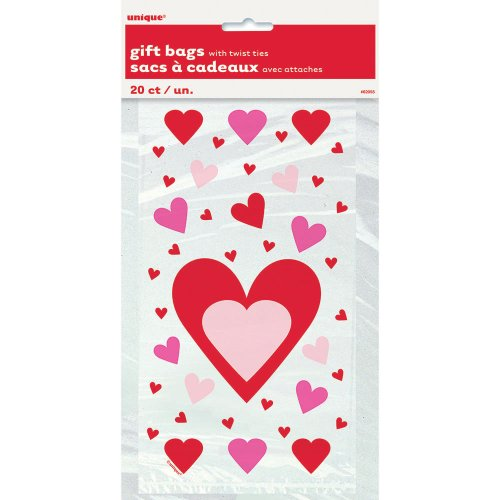 Hearts Valentine's Day Cellophane Bags, 20ct -