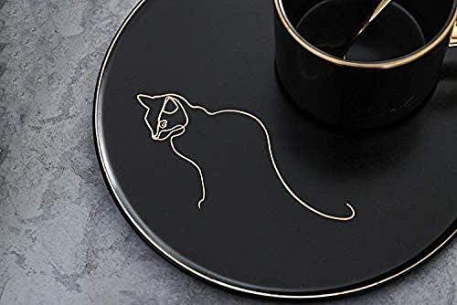葉巻灰皿, 朝食カップマグカップミルクミルクティーコーヒーカップコップのギフトオフィスカップゴールド黒カップ&ソーサートレイ