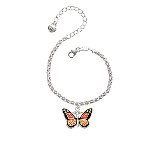 Silvertone Large Monarch Butterfly with 6 AB Crystals - Charm Bracelet, 8