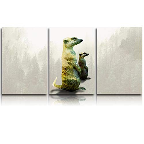 3 Piece Framed Canvas Painting Wall Art Decor, Double Exposure of Two Standing Meerkats, Modern HD Pictures Artwork Canvas Prints Giclee Art for Home/Office/Kitchen Ready to Hang 12x20In x3Panels