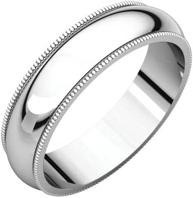 Platinum 5mm Milgrain Band, Ring Size 7.5