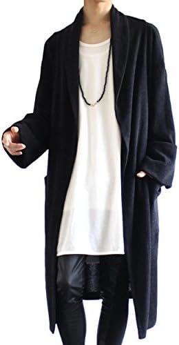 袖折り デザイン ショールカラー ニット ガウン
