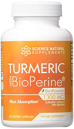 Turmeric Curcumin Supplement with BioPerine Black Pepper Extract | 1300mg | 30 Day Supply | 2000% Faster Max Absorption Formula w/ 95% Curcuminoids by Science Natural Supplements Review