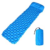 TAKOYI Inflatable Sleeping Pad, Sleeping Bag Air Mat Inflatable Compact Camping Backpacking Ultralight Lightweight Portable Sleeping Pad for Hiking and Traveling (Light Blue with Pillow) For Sale