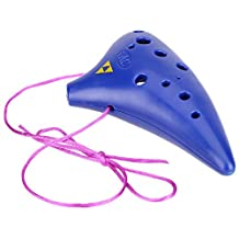 SODIAL(R) 12 Hole Ocarina Plastic Alto C Vessel Flute Wind Musical Instrument Legend with Music Score Blue