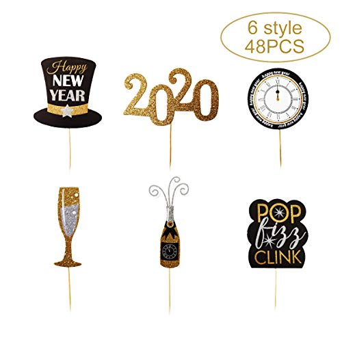Zotemo 48 PCS 2020 Happy New Year Cake Toppers Gold Glitter Cupcake Toppers for New Year Eve Party Decorations