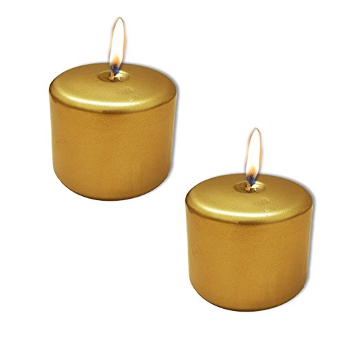 - Christmas Gold Candle Metallic Pillar 3x3 Inch Set of 2 Great for Party Celebration Holidays