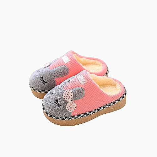 Image of Maybolury Boys Girls Home Slippers,Kids Cute Fur Lined Warm House Slippers Winter Indoor Shoes
