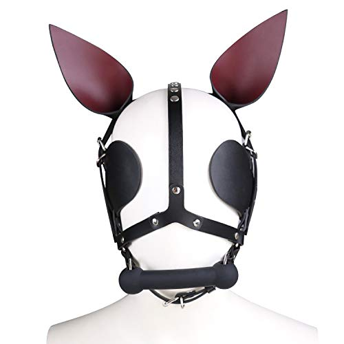 Leather Costume Head Mask Hood - Cosplay Mask Black Soft Leather Mask Full Face Mask Unisex Halloween Masquerade Mask (Cosplay -