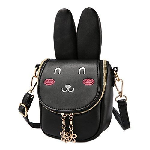 CMK Trendy Kids First Purse For Toddler Kids Girls Cute Shoulder Bag Messenger Bags With Bunny Ear and Double Slide Zipper Novelty Birthday Gift (82008_Black)