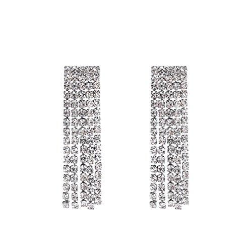 Long Earrings Rectangle - Fashion 925 Silver Shambhala Geometric Fully Crystal Rectangle Dangle Drop Earrings