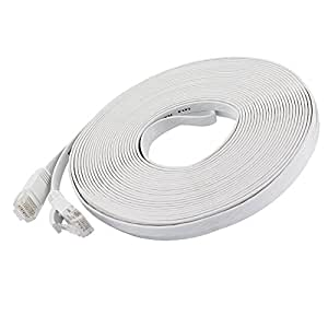 Cat 6 Ethernet Cable 50 ft (At a Cat5e Price but Higher Bandwidth) Flat Internet Network Cable - Cat6 Ethernet Patch Cable Short - White Computer Lan Cable + Free Cable Clips and Straps