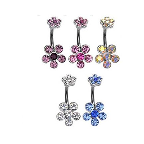 - MsPiercing Double Jeweled Flower Belly Ring, Blue