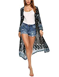 Meaneor Women Vintage Bohemian Floral Beachwear Top Cover-ups Kimono Cardigan