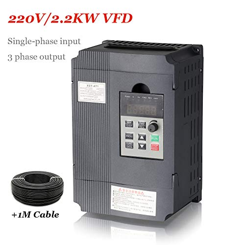AC 220V/2.2KW Variable Frequency Drive, 12A VFD Inverter Frequency Converter for Spindle Motor Speed Control (Single-phase Input, 3 Phase Output) ()