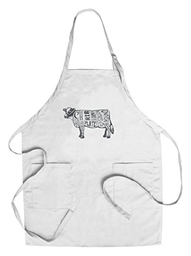 Beef - Butchers Block Meat Cuts - Blue Cow on White (Cotton/Polyester Chef's Apron) (Best Cut Of Meat On A Cow)