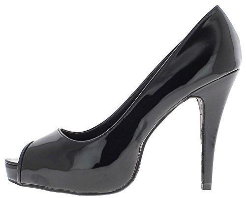Barniz negro grande de los mujer zapatos de tacón alto 13cm con el extremo abierto